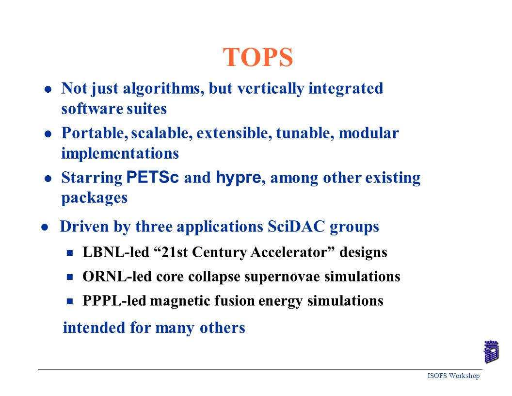 TOPS Not just algorithms, but vertically integrated software suites