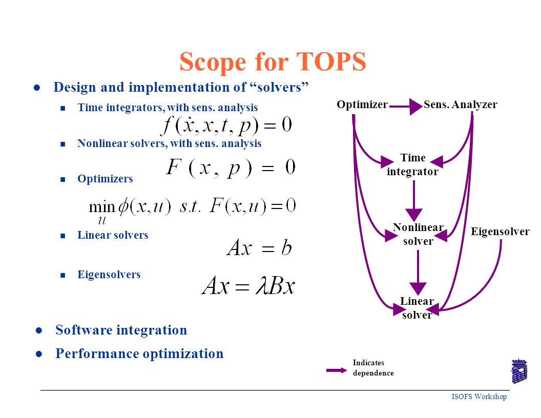 Scope for TOPS Design and implementation of solvers