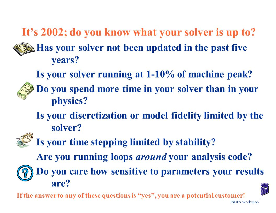 It's 2002; do you know what your solver is up to