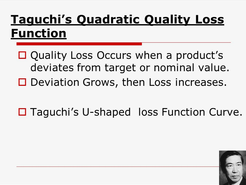 Taguchi's Quadratic Quality Loss Function