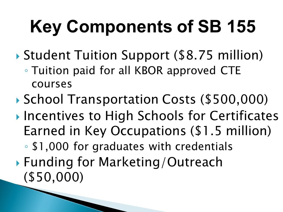Key Components of SB 155 Student Tuition Support ($8.75 million)