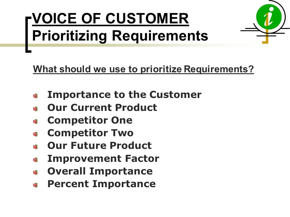 VOICE OF CUSTOMER Prioritizing Requirements