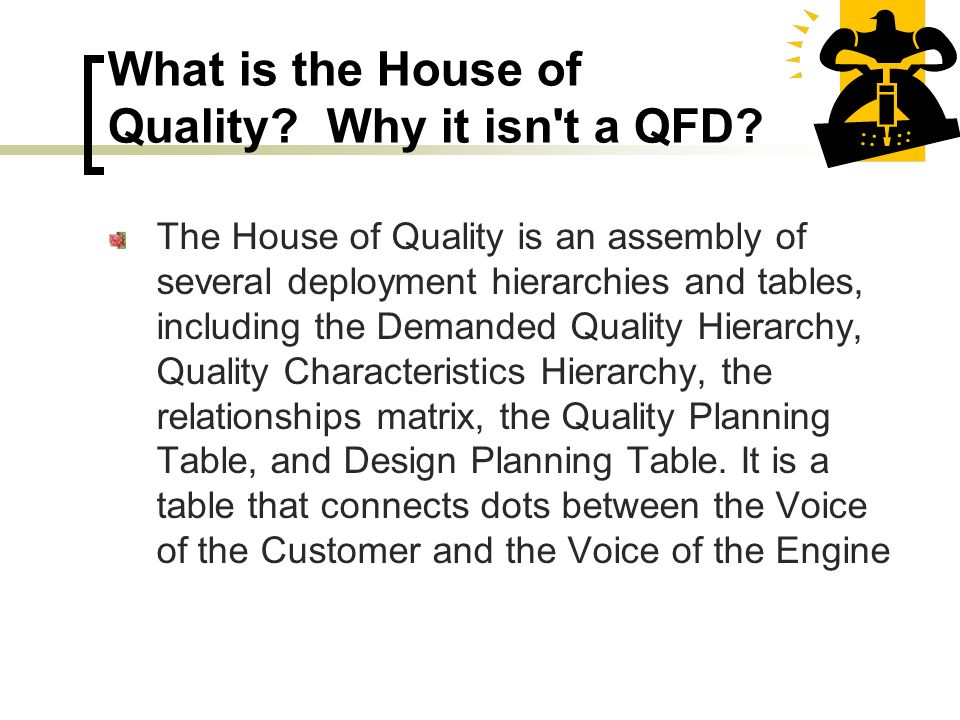 What is the House of Quality Why it isn t a QFD