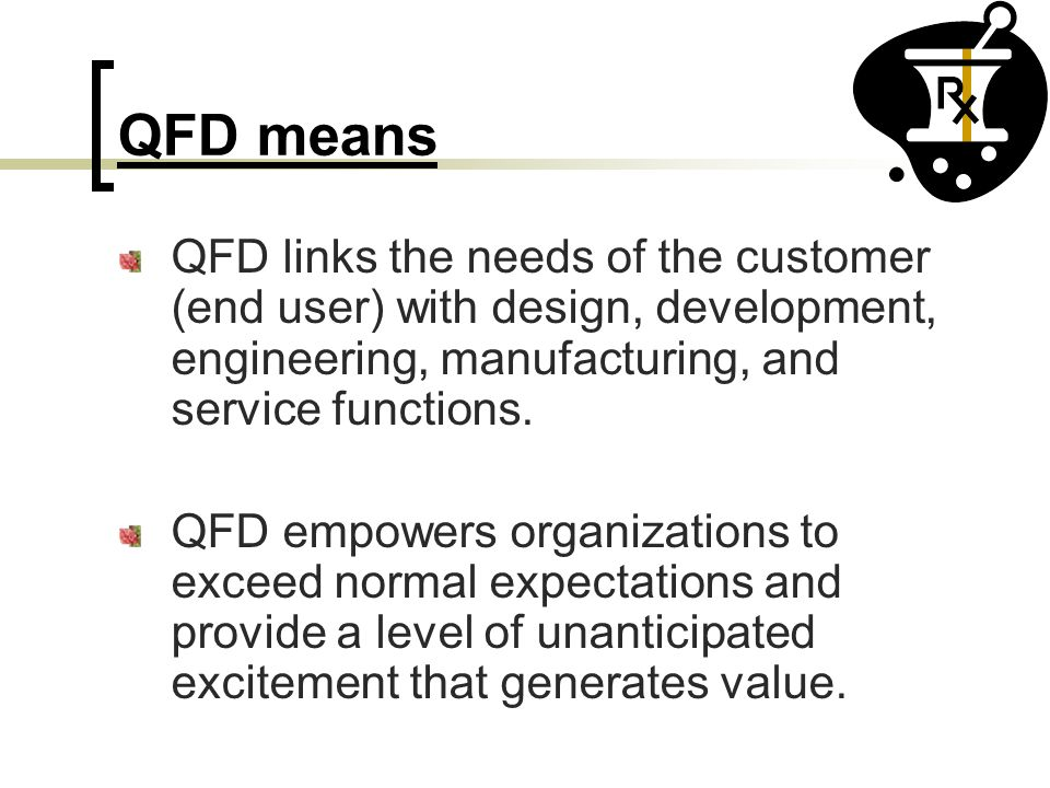 QFD means QFD links the needs of the customer (end user) with design, development, engineering, manufacturing, and service functions.