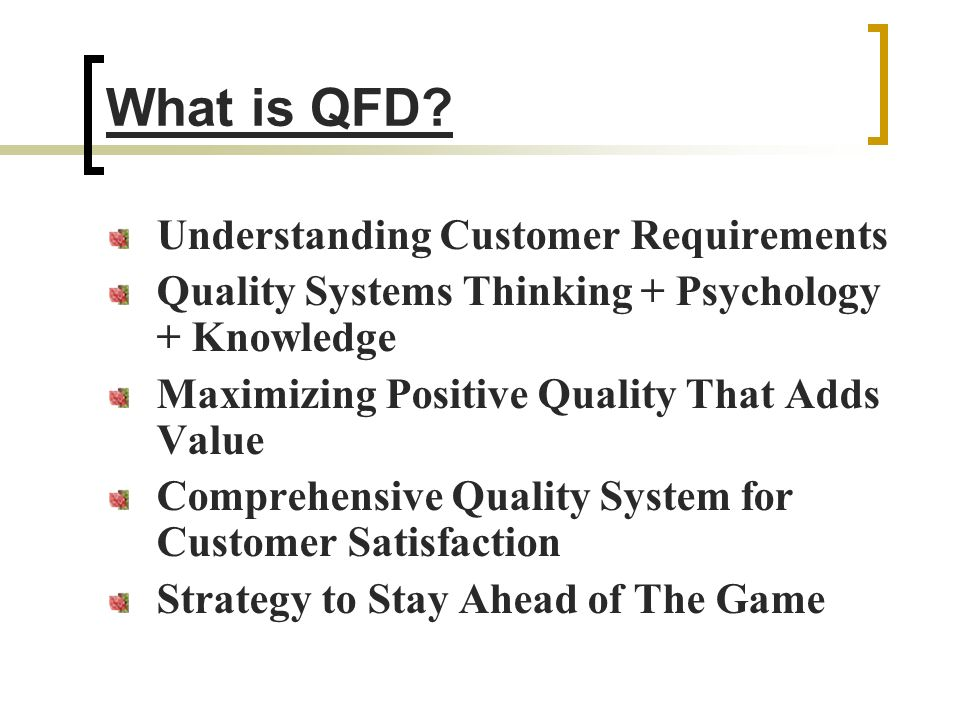 What is QFD Understanding Customer Requirements