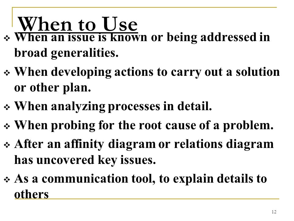When to Use When an issue is known or being addressed in broad generalities. When developing actions to carry out a solution or other plan.