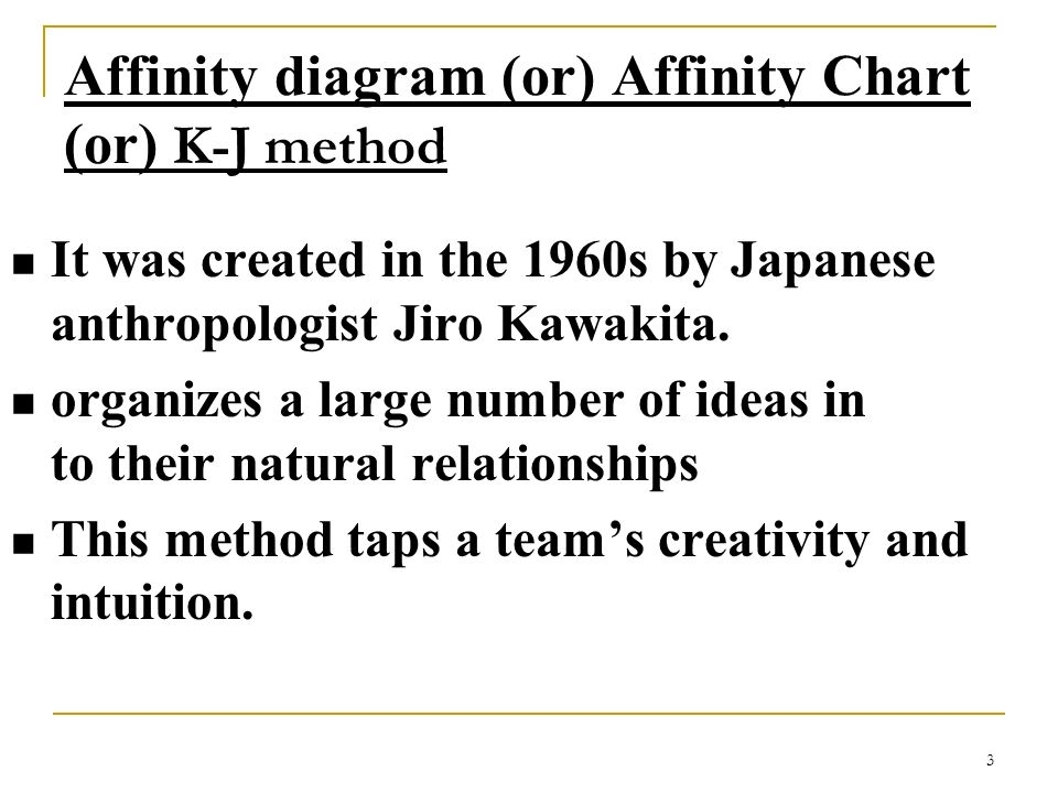 Affinity diagram (or) Affinity Chart (or) K-J method