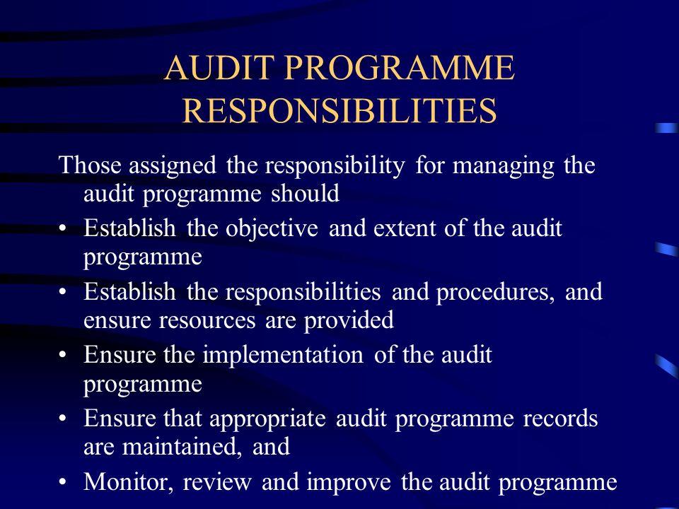 AUDIT PROGRAMME RESPONSIBILITIES