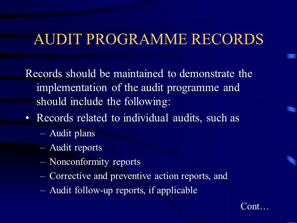 AUDIT PROGRAMME RECORDS