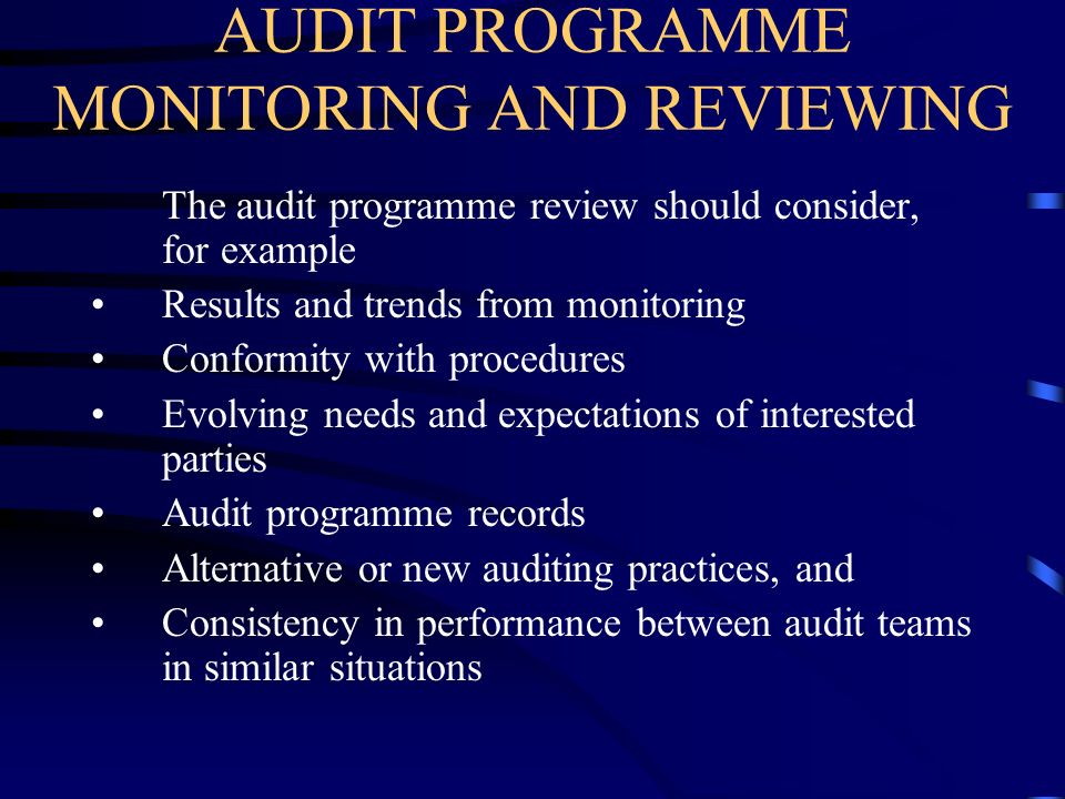 AUDIT PROGRAMME MONITORING AND REVIEWING