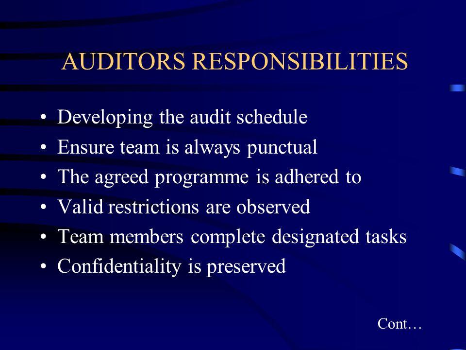 AUDITORS RESPONSIBILITIES