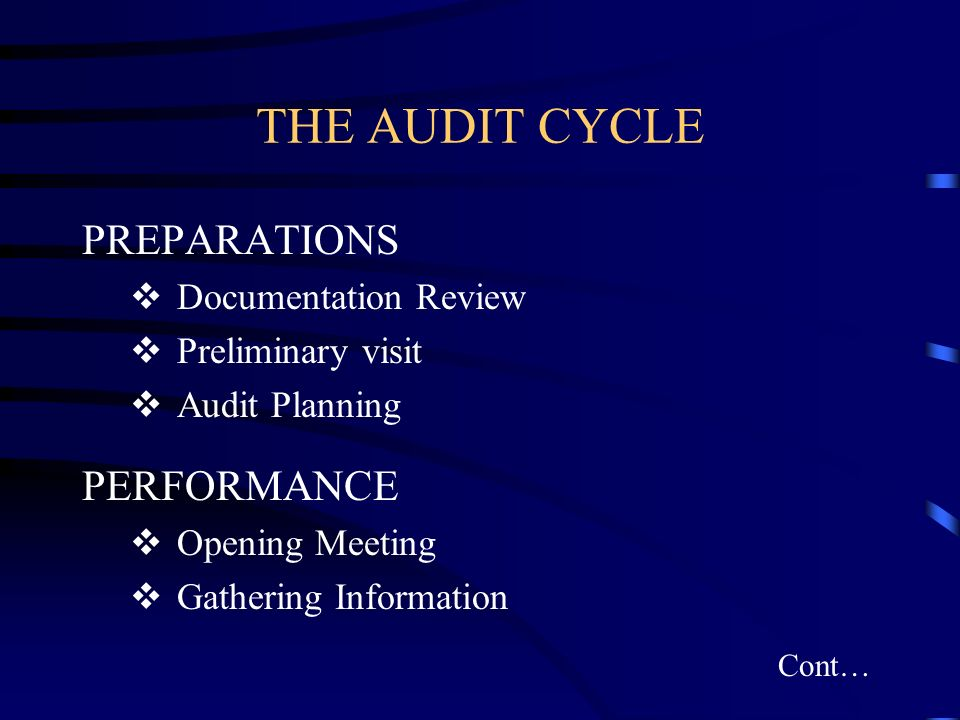 THE AUDIT CYCLE PREPARATIONS PERFORMANCE Documentation Review