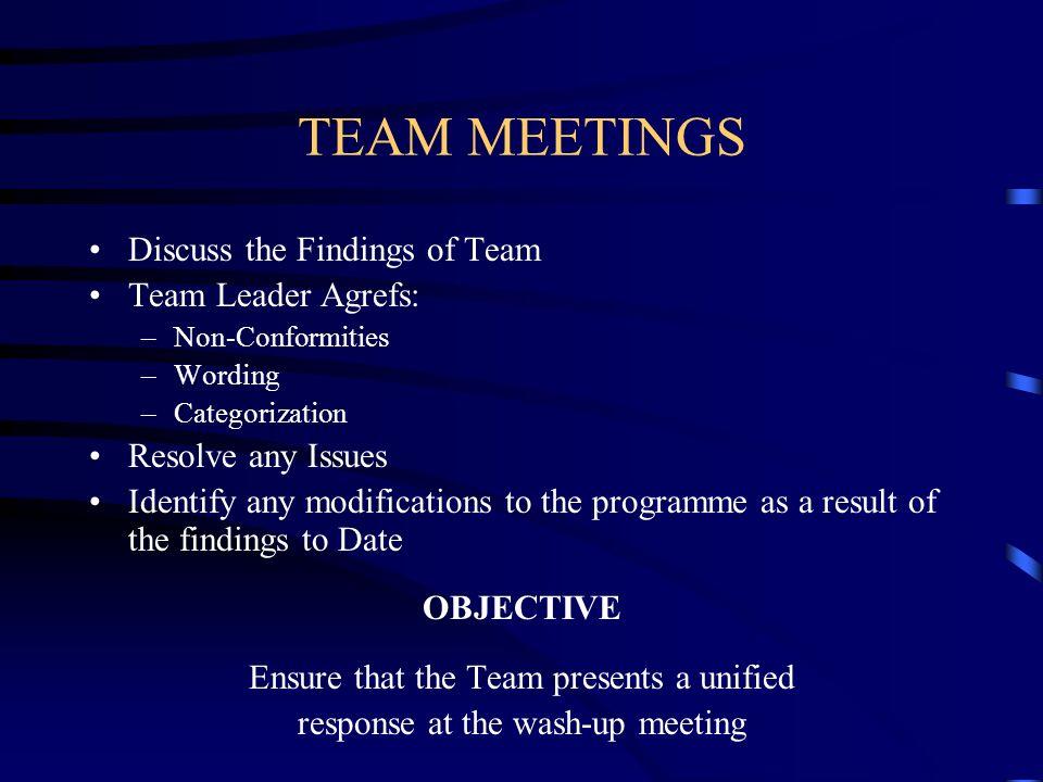TEAM MEETINGS Discuss the Findings of Team Team Leader Agrefs: