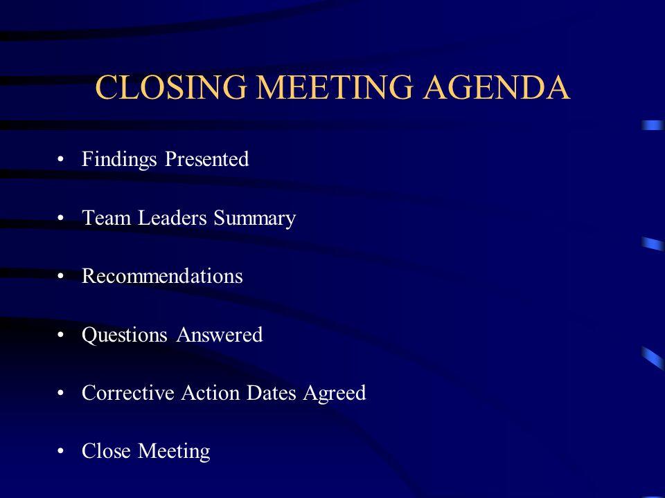 CLOSING MEETING AGENDA