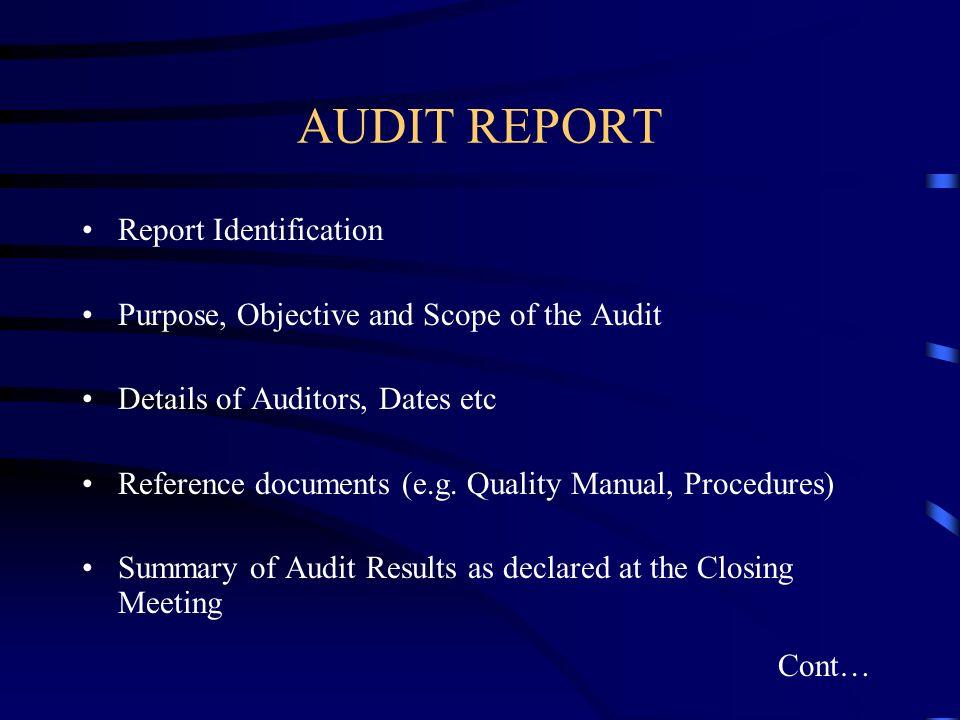 AUDIT REPORT Report Identification