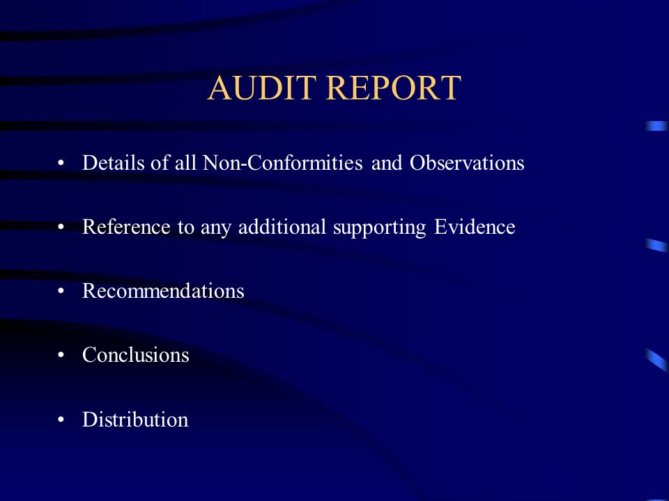 AUDIT REPORT Details of all Non-Conformities and Observations