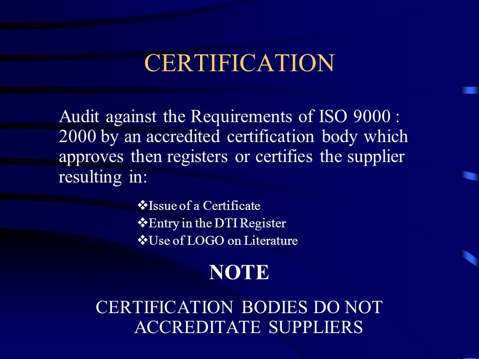 CERTIFICATION BODIES DO NOT ACCREDITATE SUPPLIERS