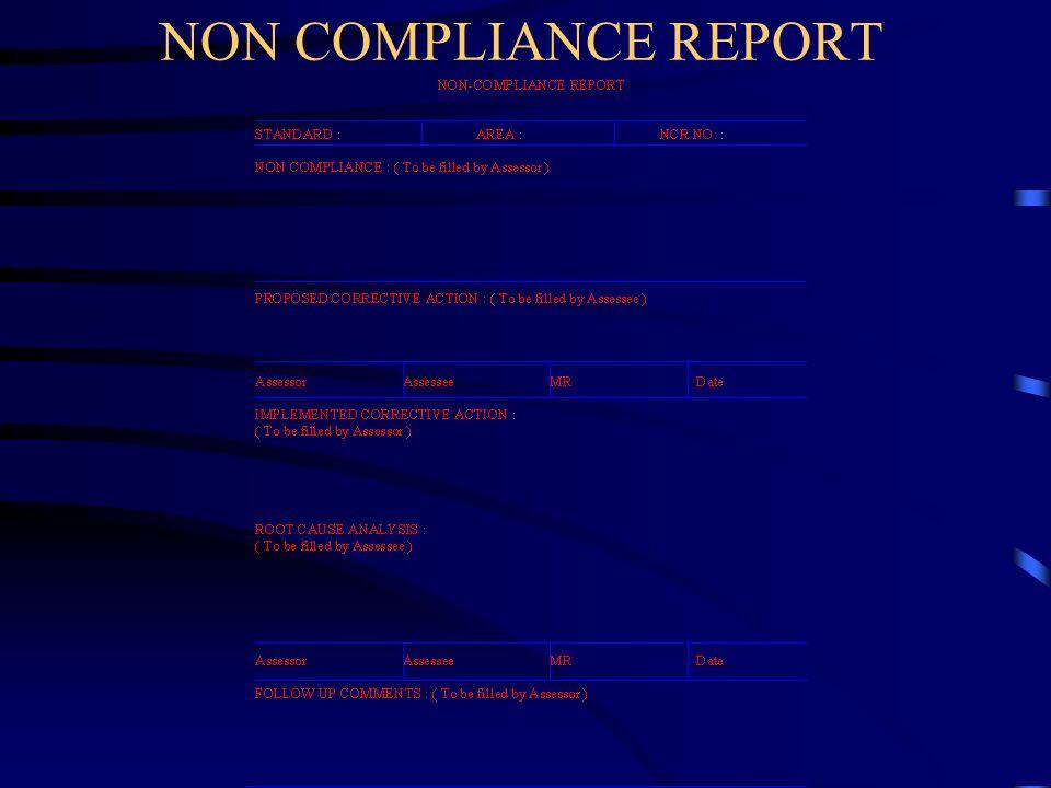 NON COMPLIANCE REPORT