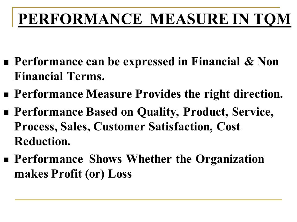 PERFORMANCE MEASURE IN TQM