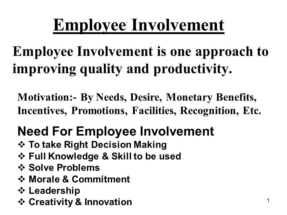 Employee Involvement Employee Involvement is one approach to improving quality and productivity.