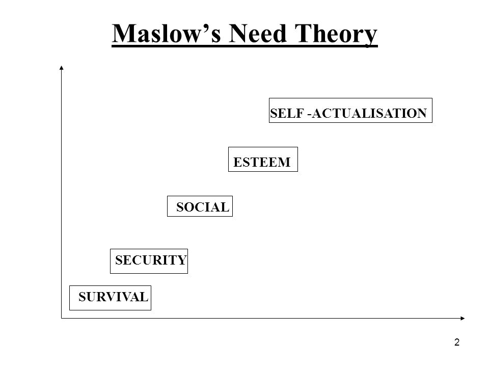 Maslow's Need Theory SELF -ACTUALISATION ESTEEM SOCIAL SECURITY