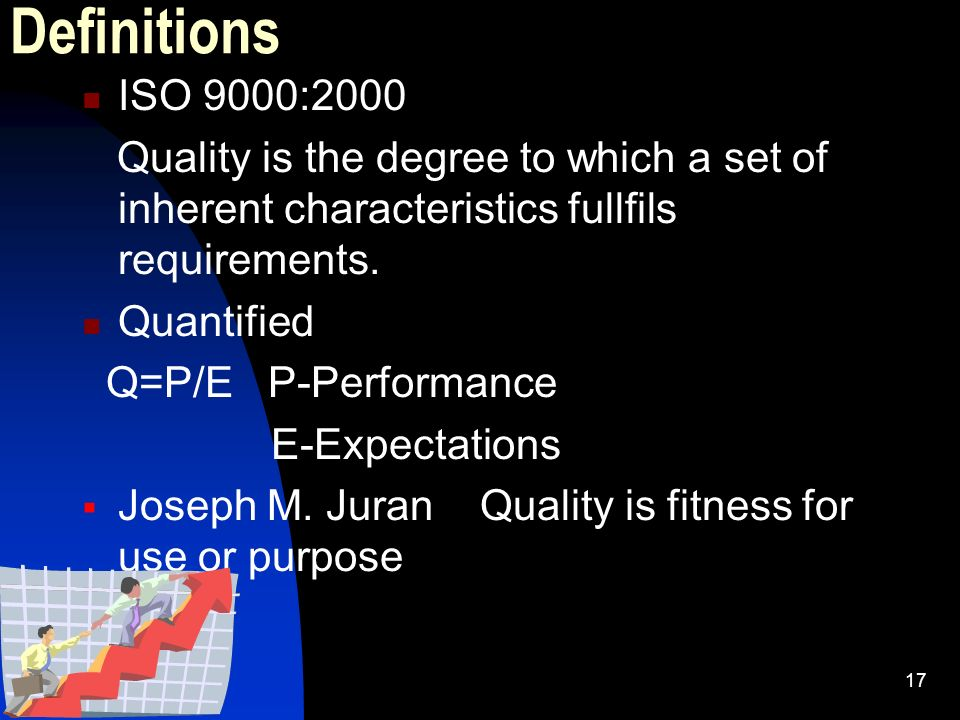 Definitions ISO 9000:2000. Quality is the degree to which a set of inherent characteristics fullfils requirements.