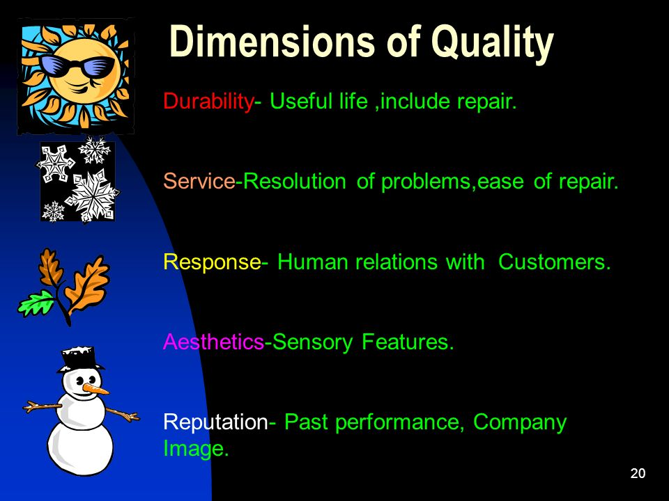 Dimensions of Quality Durability- Useful life ,include repair.