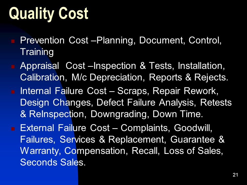 Quality Cost Prevention Cost –Planning, Document, Control, Training