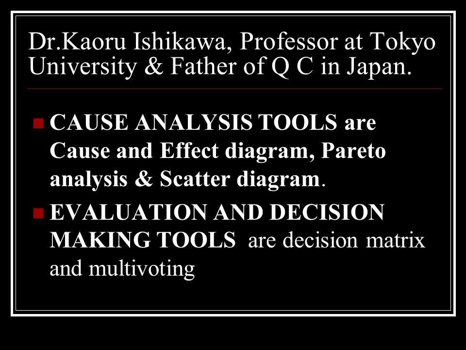 Dr.Kaoru Ishikawa, Professor at Tokyo University & Father of Q C in Japan.