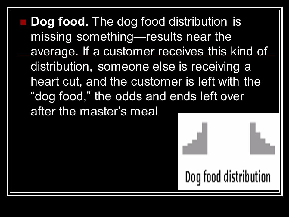 Dog food. The dog food distribution is missing something—results near the average.