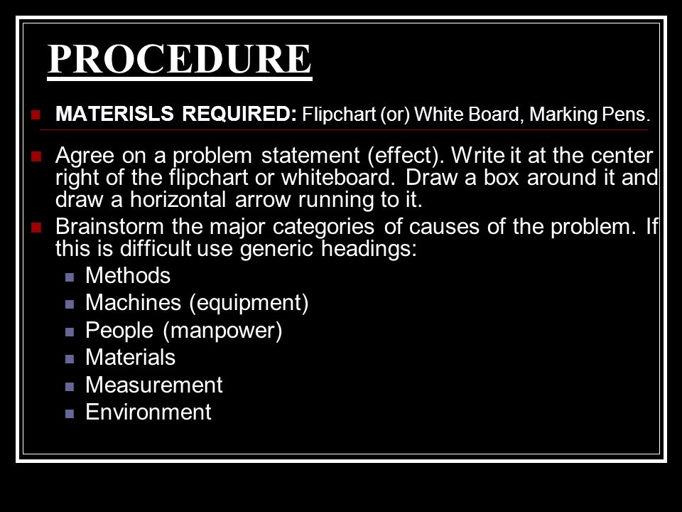 PROCEDURE MATERISLS REQUIRED: Flipchart (or) White Board, Marking Pens.