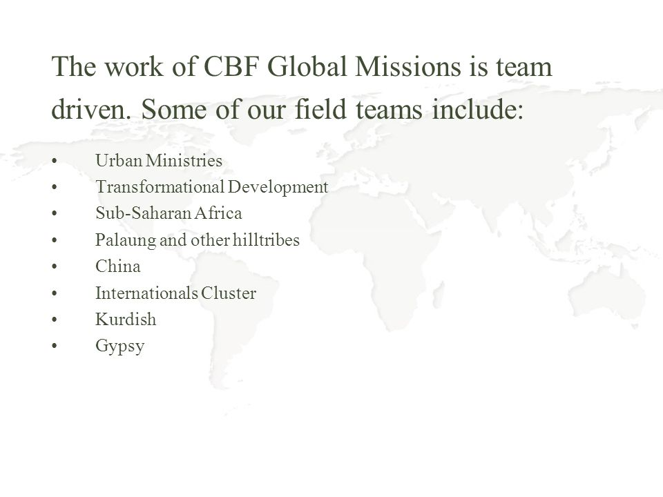 The work of CBF Global Missions is team