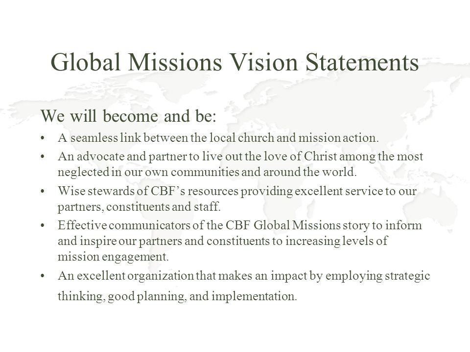 Global Missions Vision Statements