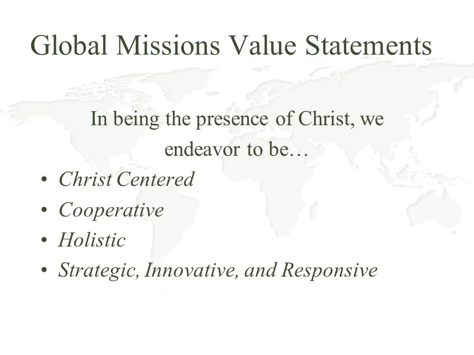 Global Missions Value Statements