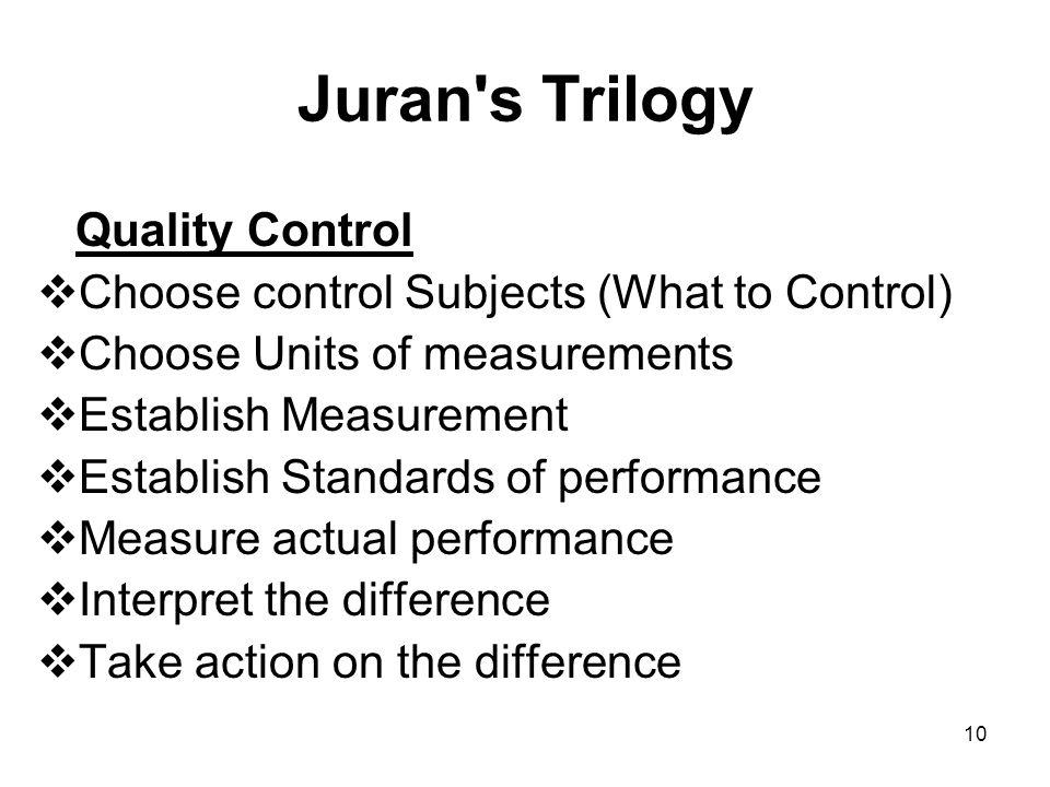 Juran s Trilogy Quality Control