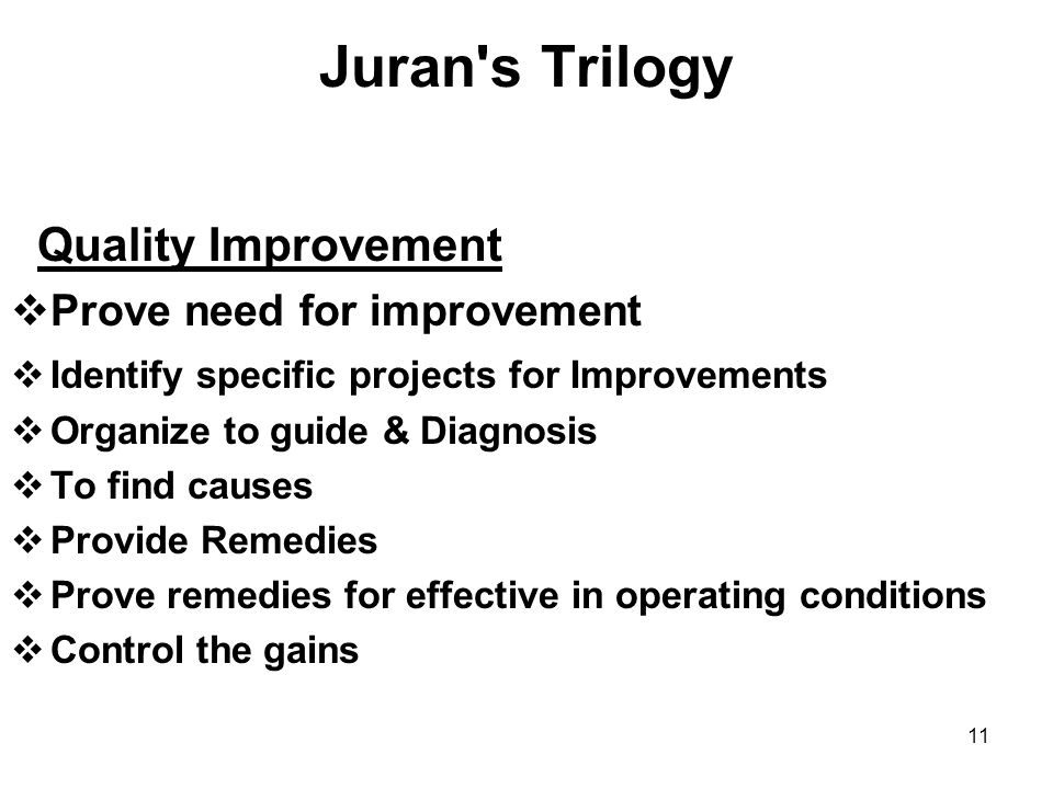 Juran s Trilogy Quality Improvement Prove need for improvement