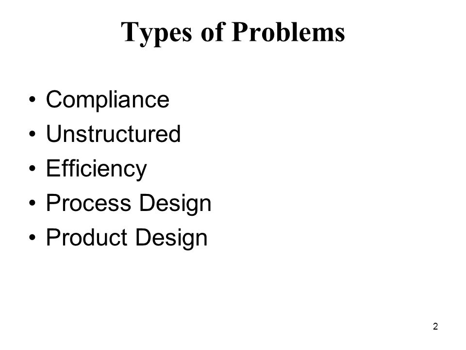 Types of Problems Compliance Unstructured Efficiency Process Design
