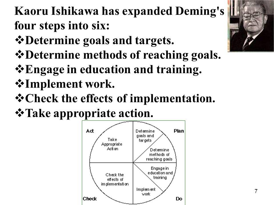 Kaoru Ishikawa has expanded Deming s four steps into six: