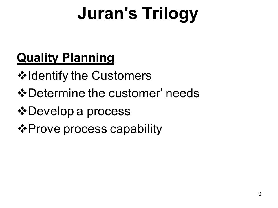 Juran s Trilogy Quality Planning Identify the Customers