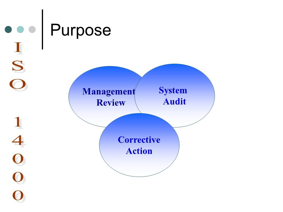 Purpose System Audit Management Review ISO 14000 Corrective Action