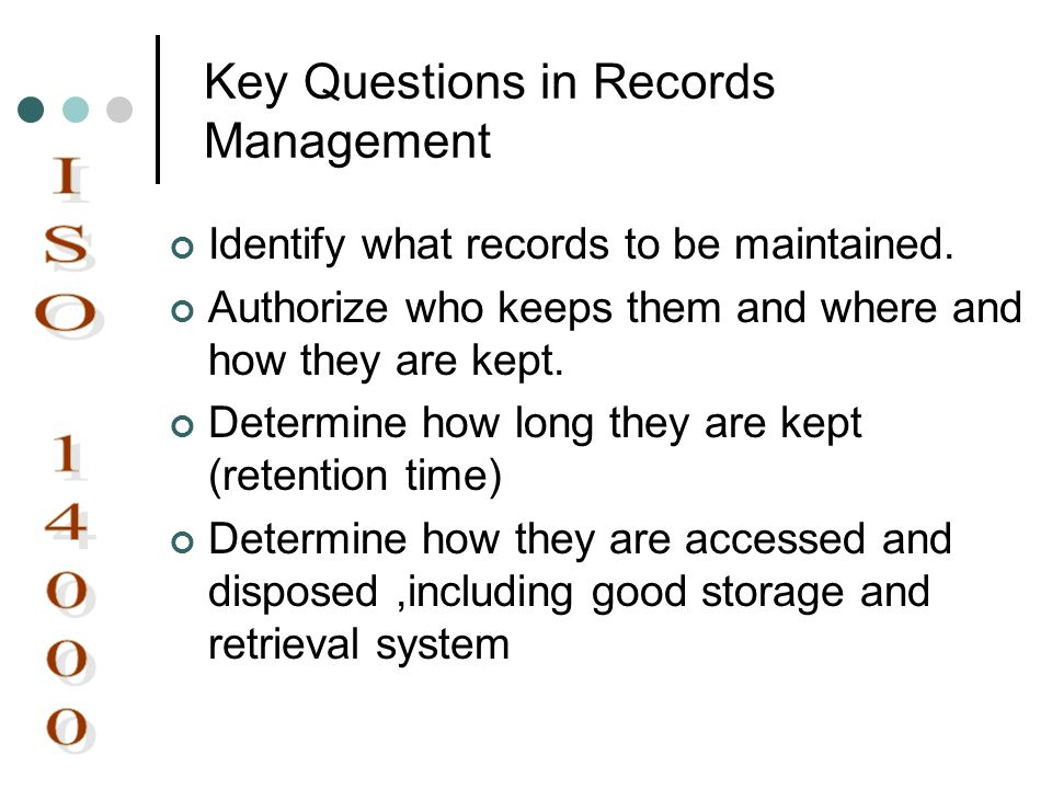 Key Questions in Records Management