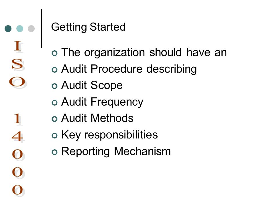 ISO 14000 The organization should have an Audit Procedure describing