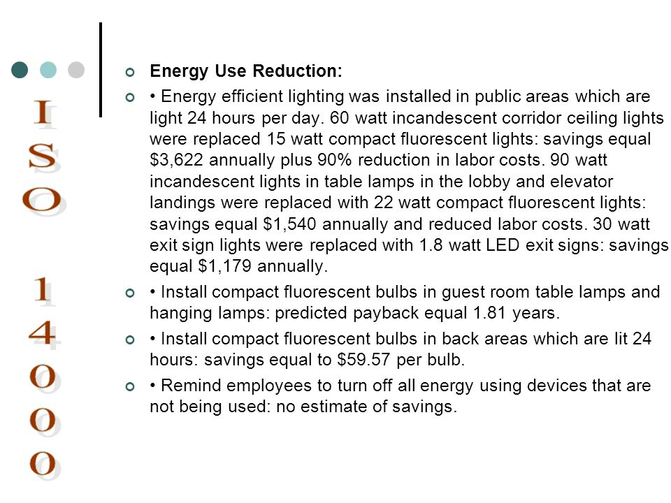 ISO 14000 Energy Use Reduction: