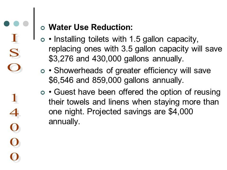ISO 14000 Water Use Reduction: