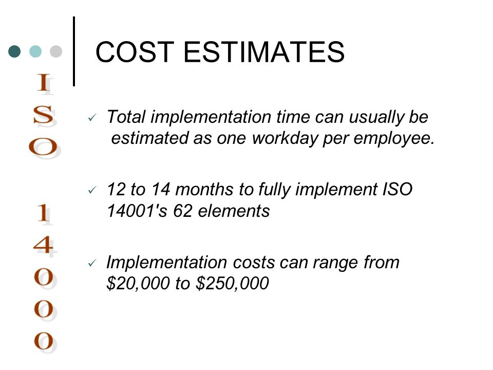COST ESTIMATES Total implementation time can usually be estimated as one workday per employee.