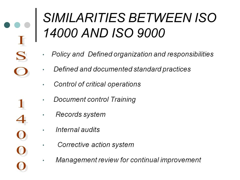 SIMILARITIES BETWEEN ISO AND ISO 9000