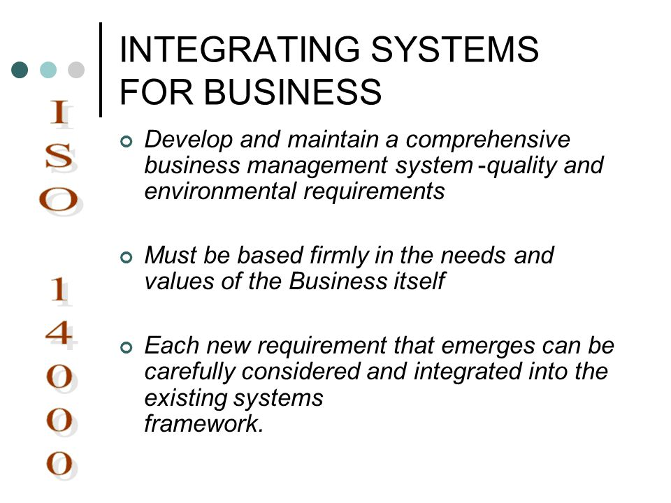 INTEGRATING SYSTEMS FOR BUSINESS