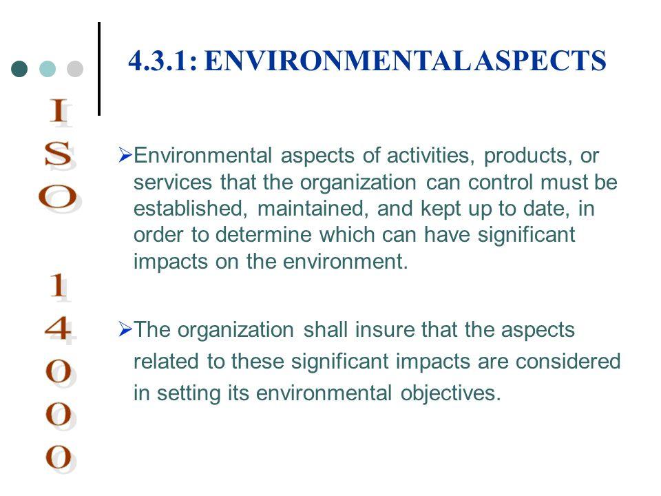 ISO 14000 4.3.1: ENVIRONMENTAL ASPECTS