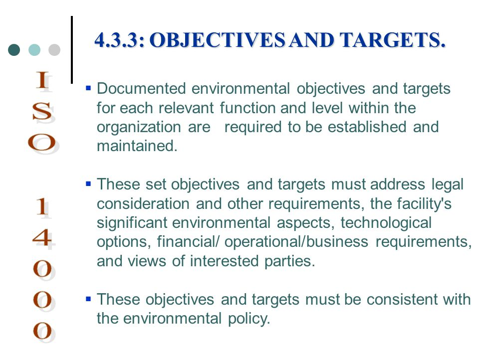 ISO 14000 4.3.3: OBJECTIVES AND TARGETS.