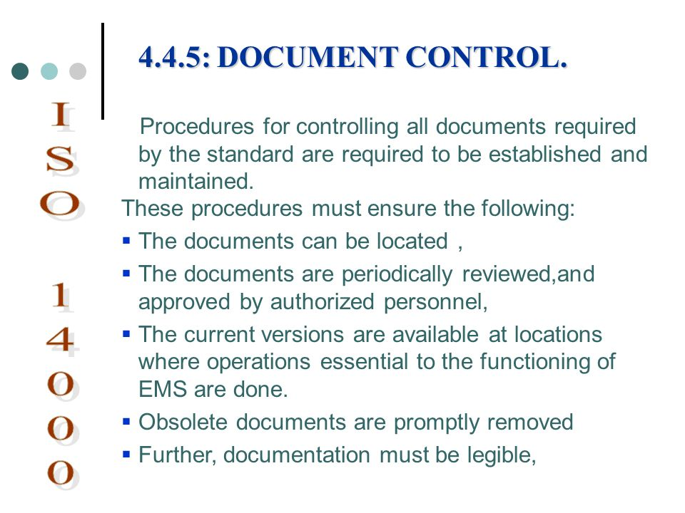 4.4.5: DOCUMENT CONTROL. Procedures for controlling all documents required by the standard are required to be established and maintained.